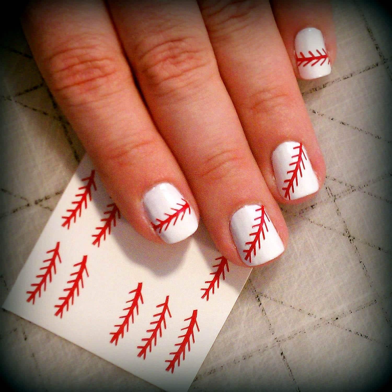 Nail Art Stitch: Baseball Stitch Nail Design / Nail Decals By MySportsJewelry