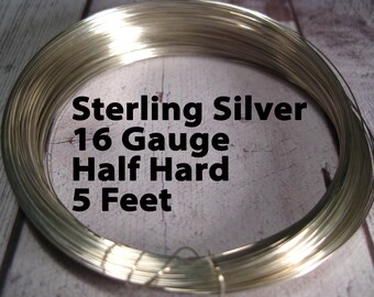 15% Off SALE!! Sterling Silver Wire, 16 Gauge, 5 FEET, WHOLESALE, Half Hard, Round.