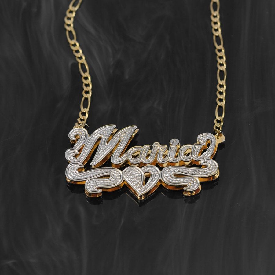 Double-Plate Rhodium Beaded Name Necklace Maria Name Plate Earrings