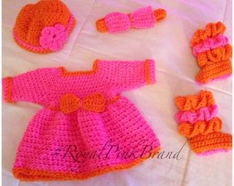 Long Sleeve Crochet Dress Set with Hat, Headband, & Booties
