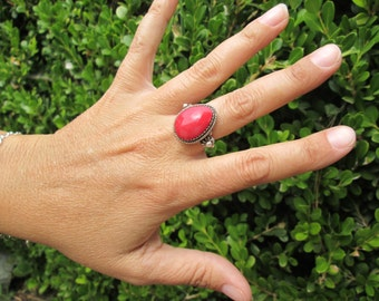 Sterling Red Coral Ring Size 6.75