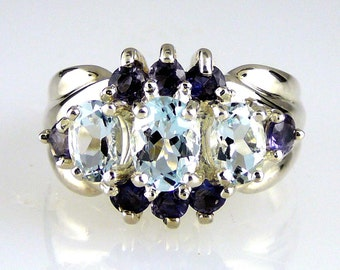 Natural Aquamarine & Iolite Ring 925 SS Sterling Silver
