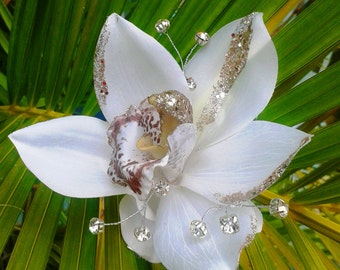 TROPICAL HAIR CLIP - Hawaiian Orchids, Bridal Flowers, Beach Bride, Fascinator, Flower Headpiece, Comb, Wedding Hair Accessory,  Hair Clip