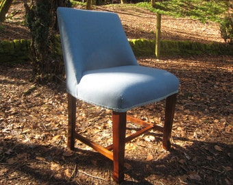 SOLD  ***  Repolished and reupholstered powder blue bedroom chair