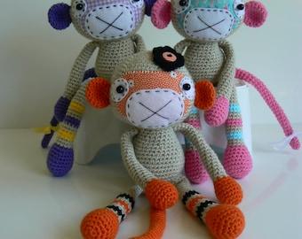 Stuffed Animal - Stuffed Monkey - Crochet Monkey - Amigurumi Monkey - Amigurumi Animal - Handmade Monkey - Plush - Monkey Girl