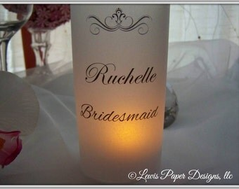 Wedding Table Number Luminary/ Bridal Party Place Card/ Wedding table decor