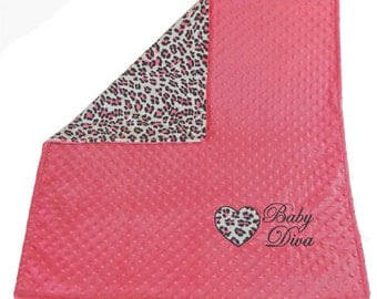 Personalized Baby Heart Blanket-Pink Leopard Minky Blanket- Leopard Baby blanket