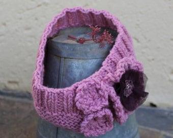 Ladies ear warmer , Head-band,  Pink ear warmer , Knit ear warmer , Knit head-band , Hair accessory , Winter headband , Turban headband