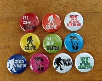 Bigfoot Buttons Set of 10 Pinback Bigfoot Buttons, Sasquatch, Bigfoot gifts