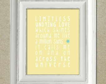 beatles art print / across the universe lyrics