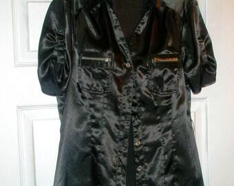 Black Blouse - Short Sleeve Button Up Summer Shirt - S / M