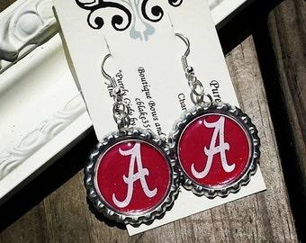 Alabama Bottlecap Earrings Roll Tide