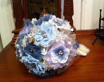 Wedding Bouquet-Steampunk-Victorian Winter-Ribbon Flowers-Snowflakes
