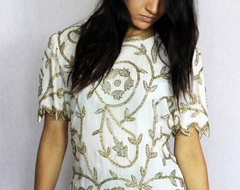 Vintage Beaded Holiday Blouse