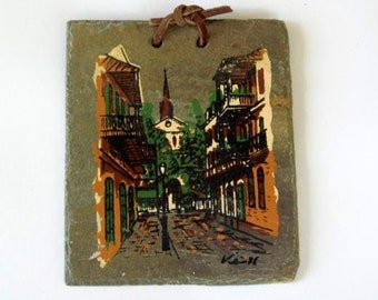 Vintage Vieux Carre Hand Painted Roofing Slate New Orleans Chartres Cathedral