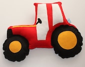 Tractor Cushion- vehicle theme, tractor nursery, farmyard, old mcdonald, red tractor - ButtonOwlBoutique