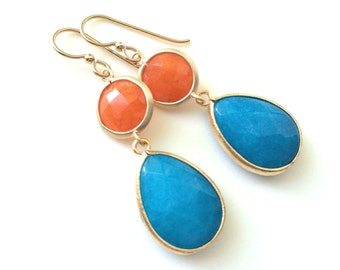 Turquoise and Orange Gold Earrings, Modern,  Orange and Turquoise Earrings, Double Stone