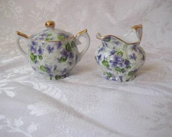 Vintage cream and sugar set, hand painted Lefton, purple voilet flowers, dainty creamer sugar
