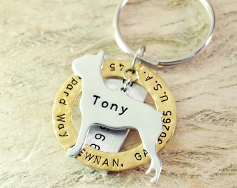 Boston Terrier dog tag personalized  dog tag 3 piece Pet tag Pet Id Tag Hand stamped  custom Made with your Pets Name/phone number
