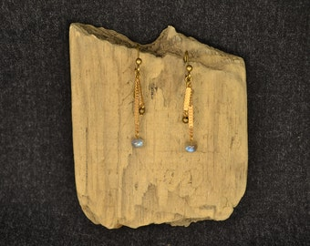 Tiny Lab labradorite and brass earrings