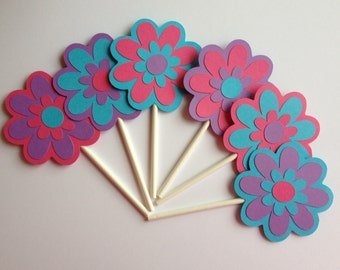 12 Flower Cupcake Toppers