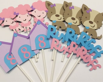 12 Girl puppy Themed Cupcake Toppers