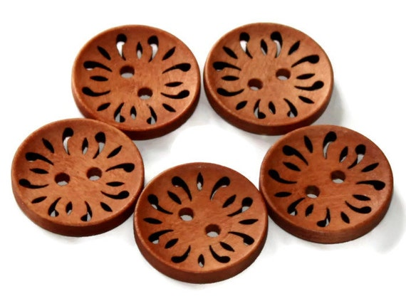 5 Coffee Wooden Buttons 23mm - Brown Natural - Round Laser Cut work - Hollow Flower Pattern Buttons - NW28