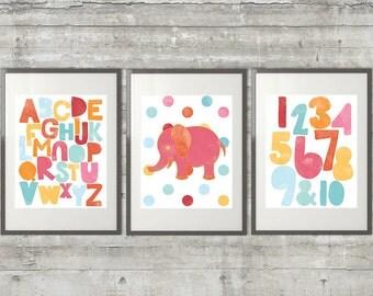 Alphabet Nursery Art Trio- 3 8x10 Prints with the Alphabet ABCs, Numbers and Polka Dot Elephant