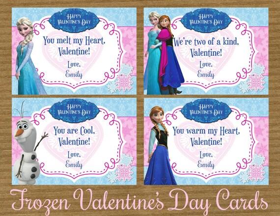 Items similar to DIsney Frozen Princess Printable Valentines Day – Disney Printable Valentine Cards