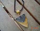 1 1/4 inch triangle wooden pendant  27inch suede chain  gift man  woman teen OOAKHandmade Jewelry