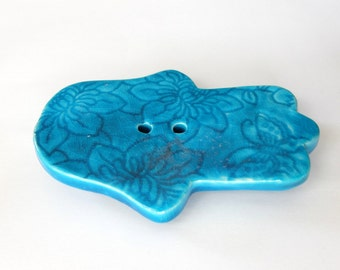 Big Hamsa soap dish, turquoise color , Evil Eye protection, Lucy charm, ceramic, Home and living, house warming gift, bathroom, soap dishes