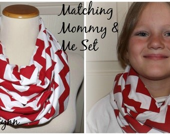 Mommy & Me Red and White Chevron Infinity Scarf READY to SHIP Scarves Jersey Knit Soft