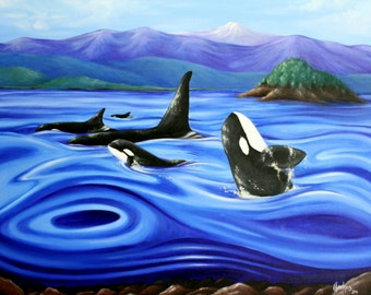 Dance of the Orca prints oil on canvas 62cm x 73cm