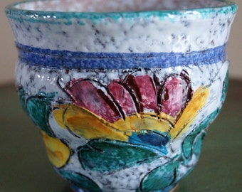Vintage Hand Painted Pottery Vase pot Made in Italy Floral Design