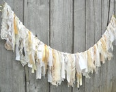 Rustic Wedding Garland, Tattered Fabric Banner, Photo Prop, Eclectic Party Tent Decor, Birthday or Graduation Table and wall Decoration