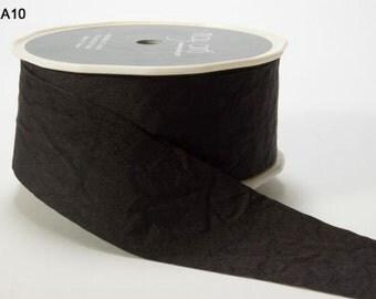 Black Wrinkled Ribbon 1.5 Inch -  Solid EA10 Black