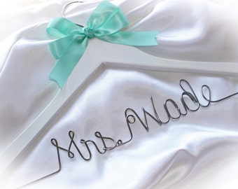 Bridal hanger, wedding dress hanger, Bride name hanger, personalized hanger,  Wedding shower gift,  wire hanger,  wooden hanger, Mrs. hanger