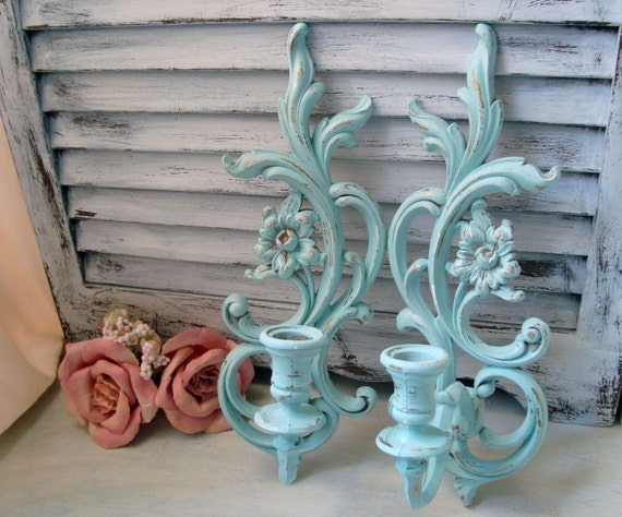 Sea Glass Blue Vintage Wall Sconces Light Blue Up Cycled
