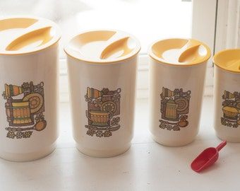 Vintage 1970s Yellow & White Plastic Nesting Canister Set