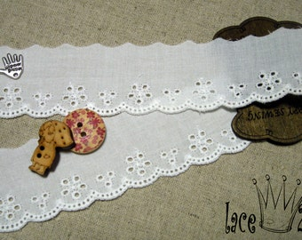 """14Y Broderie Anglaise Embroidered cotton eyelet lace trim 1.1"""" white YH1441"""