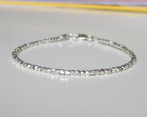 Small Sterling silver Nuggets Bracelet, Silver nuggets bracelet,Faceted Nuggets Bracelet, Silver nugget Bracelet, Silver ball