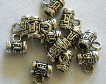 Tibetan silver finish charm pendant hangers 8mm X 5mm 30pcs