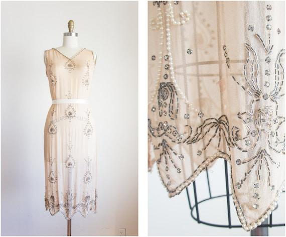 1920s Nude Chiffon Beaded Rhinestone Pearl Dress / Vintage / Size Small Medium / Pale Peacock Dress