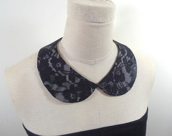 Black Lace Collar PeterPan Collar Lace Necklace Detachable Collar