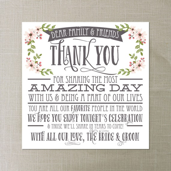 Thank You Quotes For Bridal Shower: Wedding Thank You Place Card Wedding By CreativeUnionDesign