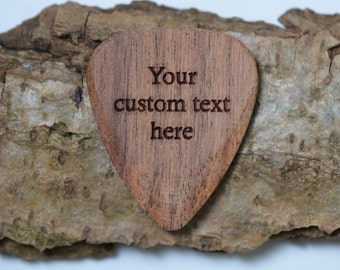 Professional Custom Engraved Guitar Pick / Plectrum. Mimosa Wood.