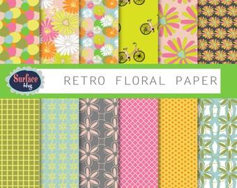 FLORAL DIGITAL PAPER Retro digital paper Floral pattern paper Green digital paper Commercial free Blog background Flower digital paper