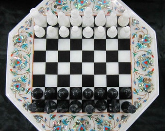 Marble Chess Board Table Vintage Rare Antique chess pieces Collectible