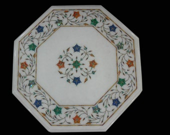 White Marble coffee Table / Octagon End Tables Hand Made Stone Inlaid Pietra Dura Antique Art