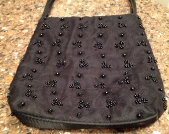 Vintage Rebecca Molenaar Accessori Black Satin Bag Made in Italy
